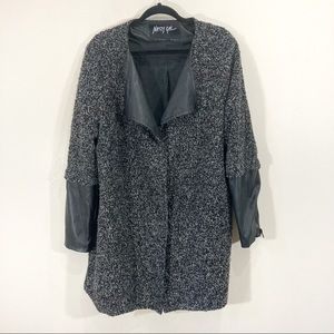 Nasty Gal Boucle Fuzzy Knit Faux Leather Sleeves Coat Sz XL